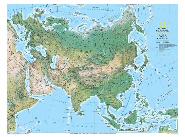 Azja Mapa Fizyczna Sklep Internetowy Edumax