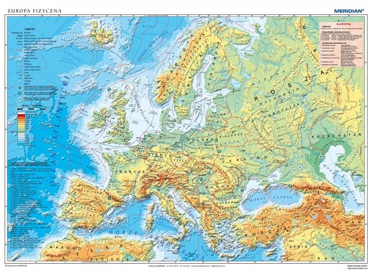 Mapa Fizyczna Europy Sklep Internetowy Edumax